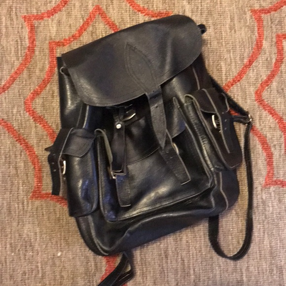 50% off Handbags - Black hard leather backpack, genuine! from ...